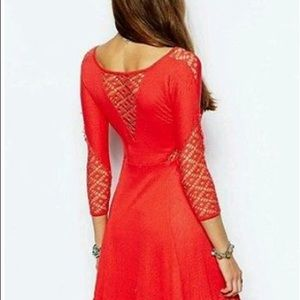 Free People Dresses - Free People coral red crochet cutout dress XS